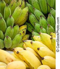 bananen, rijp, op, /, fruit, achtergrond, afsluiten, banaan, bos