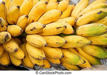 bananen, rijp, op, textuur, fruit, /, achtergrond, afsluiten, banaan, bos