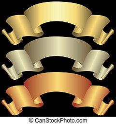 banieren, gouden, brons, zilverachtig