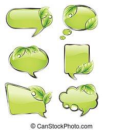 banieren, vector, groene, leaf.