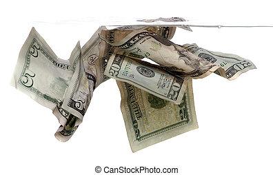 bankpapier, water, dollar