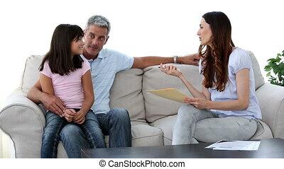 bankstel, gezin, zittende