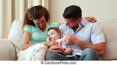 bankstel, ouders, jonge, zittende