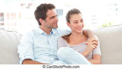 bankstel, relaxen, paar, het glimlachen