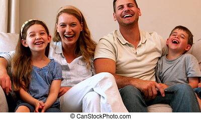 bankstel, vrolijke , lachen, gezin, jonge