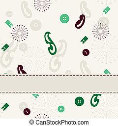 banner., achtergrond, naaiwerk, seamless