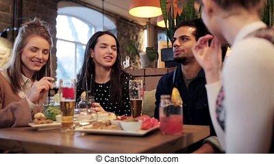 bar, eten van drinken, koffiehuis, vrienden, of, vrolijke