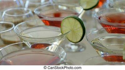 bar, martini, cocktails, feestje, of, rood, bril