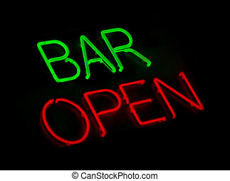 bar, open, buitenreclame