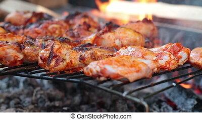 barbecue, chicken, benen, vleugels