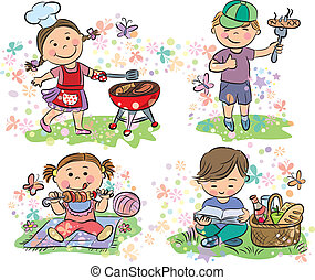 barbecue, geitjes, picknick