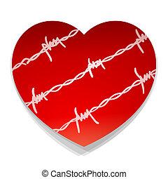 barbwire, hart, liefde