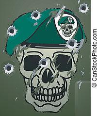 baret, motief, retro, schedel, militair