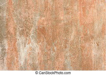 barsten, muur, oud, antiquiteit, achtergrond., gekraste, straat, vlekken, stof, texturen, verf , grey-orange, stucco, doorregen, grunge