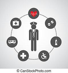 basis, ziekenhuis, set, iconen