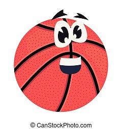 basketbal, ilustration, karakter, bal, vector, spotprent
