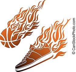 basketbal kleur, bal, vector, gymschoen, vlam, pictogram