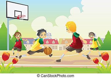 basketbal, spelend, geitjes