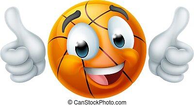 basketbal, spotprent, gezicht, emoji, emoticon, pictogram, bal