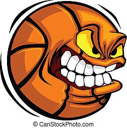 basketbal, vector, spotprent, bal, gezicht
