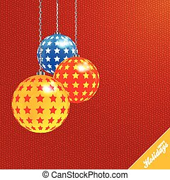 baubles, achtergrond, textured, verfraaide, kerstmis, rood