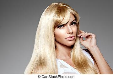 beauty, jonge, langharige, luxe, blonde , vrouw