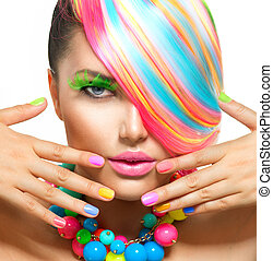 beauty, kleurrijke, makeup, accessoires, haar, verticaal, meisje