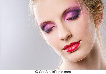 beauty, makeup., elegant, closeup, blonde , verticaal
