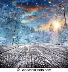 bedekt, bos, winterlandschap, sneeuw