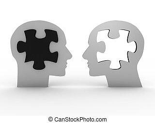 beeld, 3d, hoofden, twee, puzzle.
