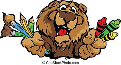 beeld, beer, vector, mascotte, spotprent, preschool, vrolijke