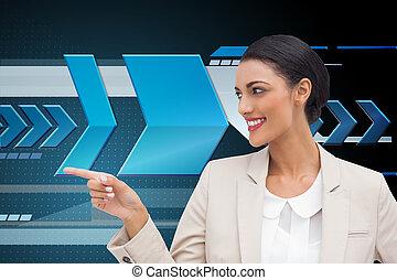 beeld, businesswoman, wijzende, composiet, het glimlachen