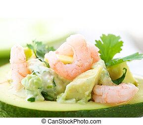 beeld, close-up, avocado, salad., garnalen