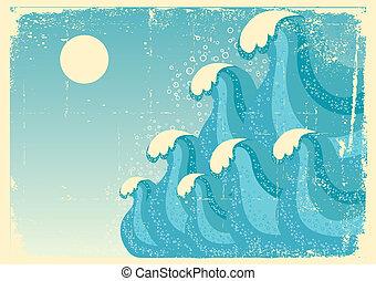beeld, grunge, blauwe achtergrond, zee, vector, ontwerp, waves.