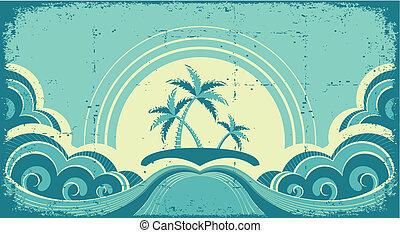 beeld, grunge, tropische , palmen, island., zeezicht, ouderwetse