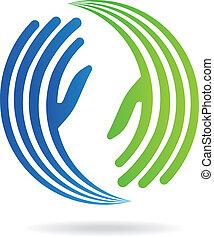 beeld, handen, pact, logo