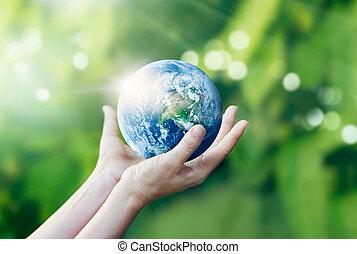 beeld, handen, vasthouden, communie, aarde, nasa, gemeubileerd, beschermen, natuur, achtergrond, dit