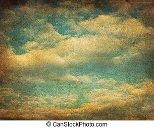 beeld, hemel, retro, bewolkt