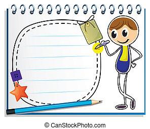 beeld, jongen, schrijvende , aantekenboekje