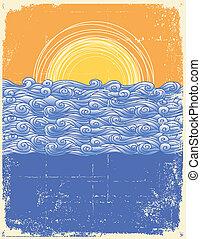 beeld, landschap., grunge, abstract, illustratie, zee, vector, waves.