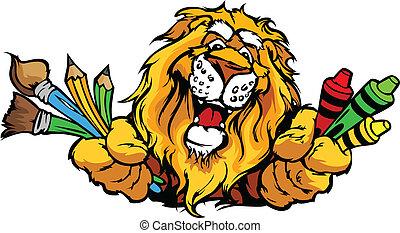beeld, leeuw, vector, mascotte, spotprent, preschool, vrolijke