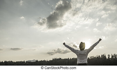 beeld, overwinning, desaturated, macht, conceptueel, succes