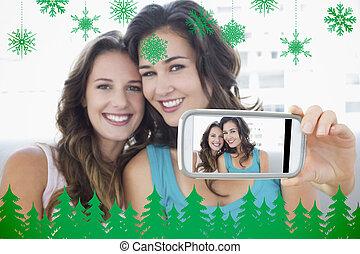 beeld, vasthouden, smartphone, composiet, hand