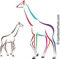 beeld, vector, giraffe