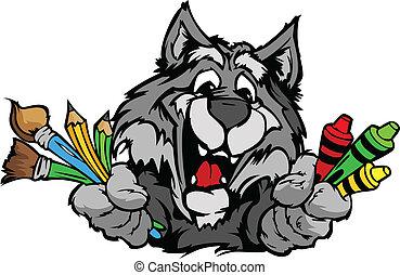 beeld, vector, wolf, mascotte, spotprent, preschool, vrolijke