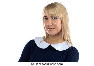 beeld, vrouw, blonde , zakelijk