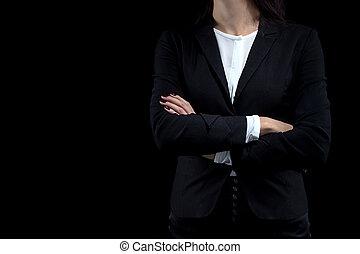beeld, vrouw, gekruiste armen, zakelijk
