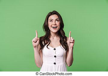 beeld, vrouw, omhoog, vingers, gelukkig glimlachen, kaukasisch, wijzende