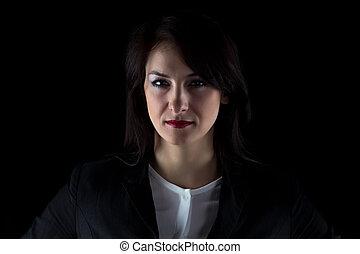 beeld, vrouw zaak, fototoestel, ernstig kijken