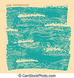 beeld, water, blauwe achtergrond, zee, vector, waves.